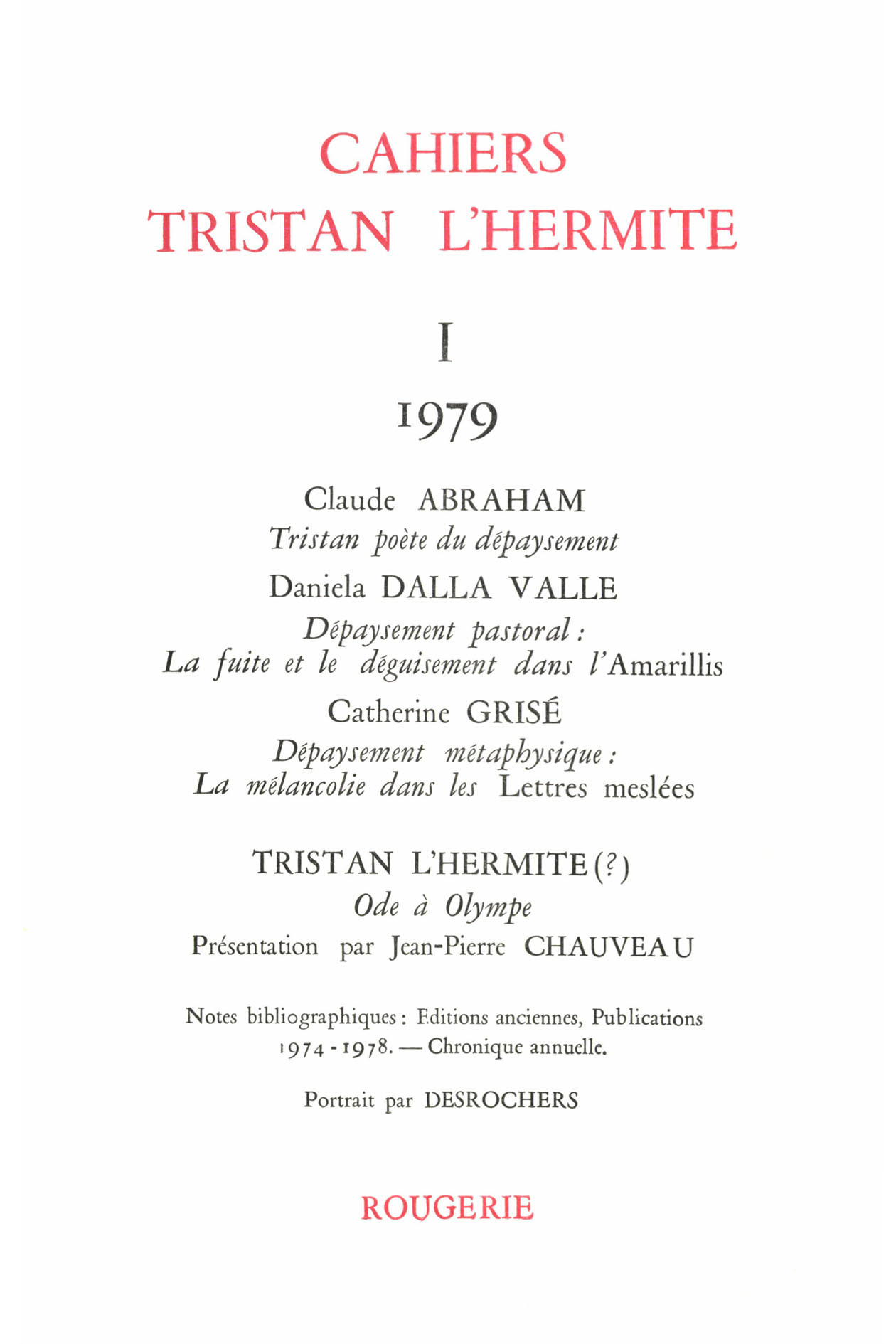 CAHIERS TRISTAN L'HERMITE 1979, I - VARIA