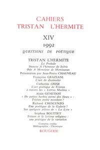 CAHIERS TRISTAN L'HERMITE. 1992, N  14 - VARIA