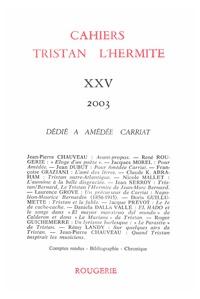 CAHIERS TRISTAN L'HERMITE 2003, N  25 - VARIA