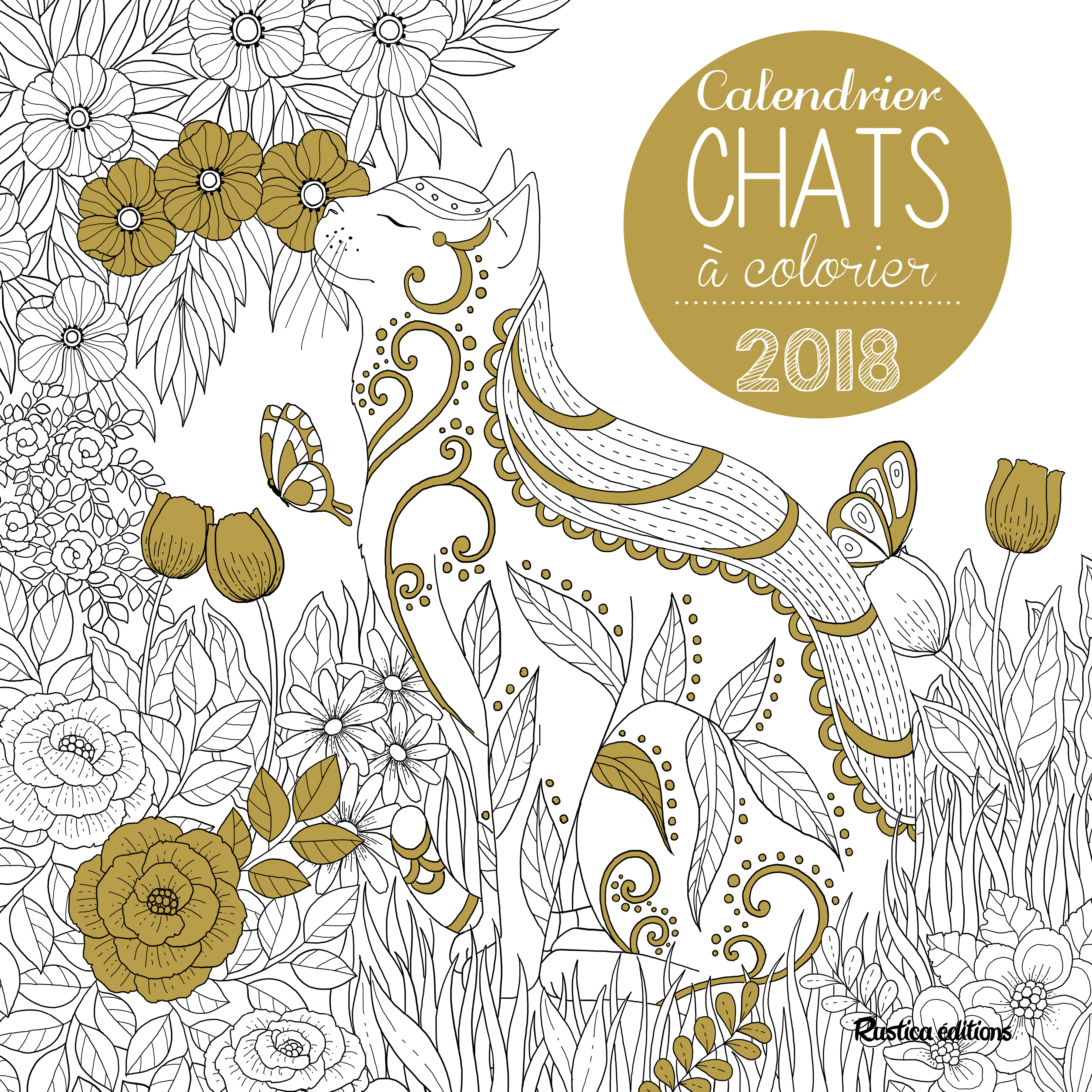 CALENDRIER MURAL CHAT A COLORIER