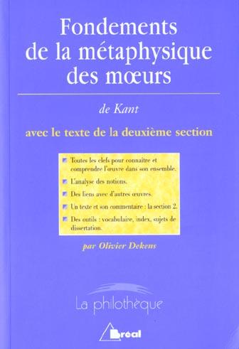 FONDEMENTS METAPHYSIQUE MOEURS (KANT)