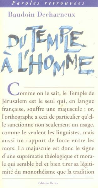 TEMPLE A L'HOMME (DU)
