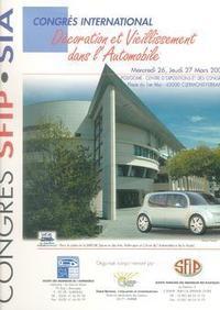 DECORATION ET VIEILLISSEMENT DANS L'AUTOMOBILE CONGRES INTERNATIONAL 26 27 MARS 2003 CLERMONTFERRAND