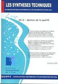 GESTION DE LA QUALITE (LES SYNTHESES TECHNIQUES DU SERVICE NATIONAL D'INFORMATION ET DE DOCUMENTATIO