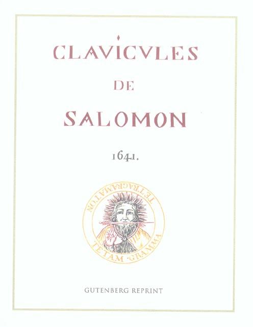 CLAVICULES DE SALOMON 1641
