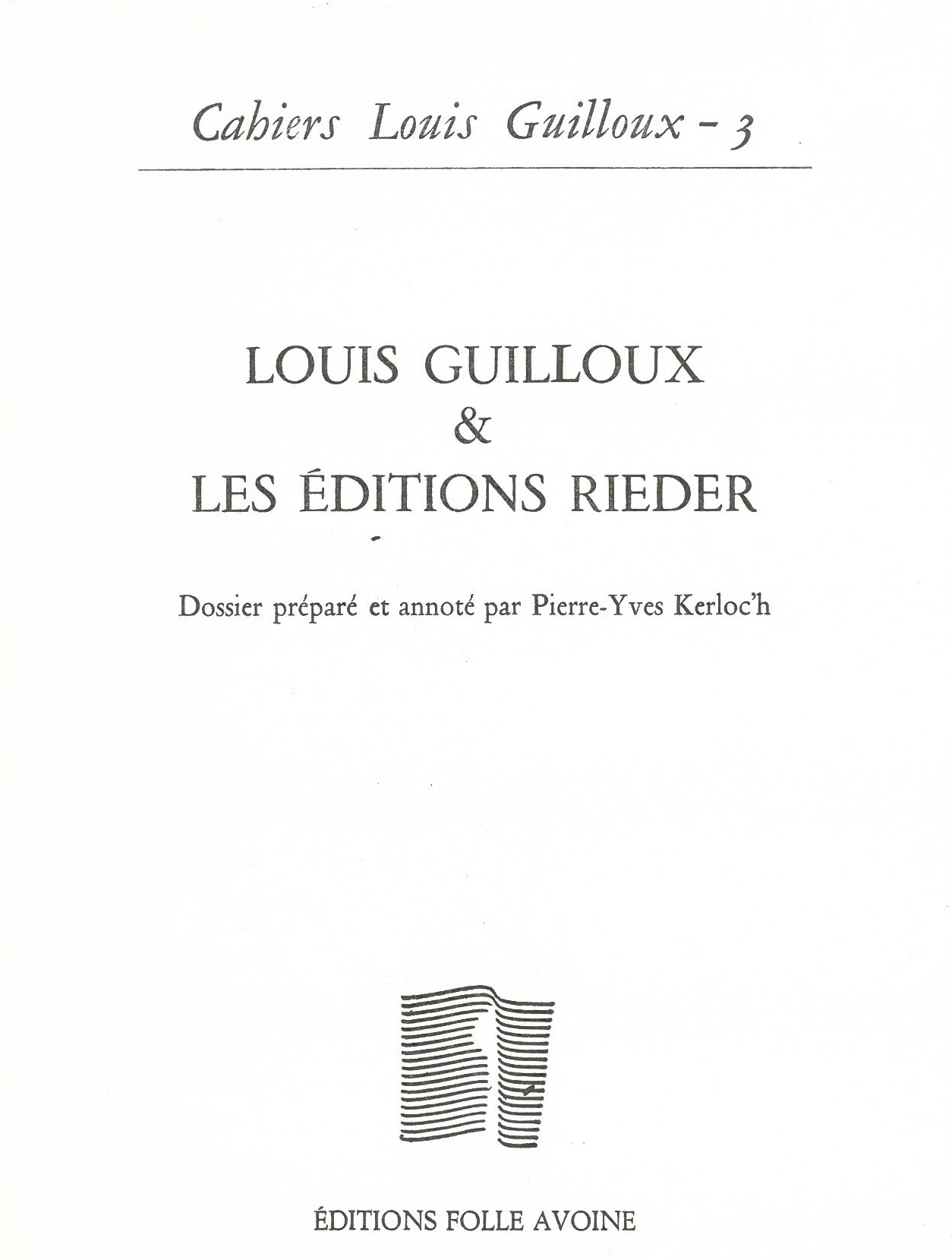 CAHIERS GUILLOUX N3