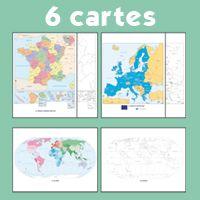 6 CARTES - GEOGRAPHIE A VIVRE