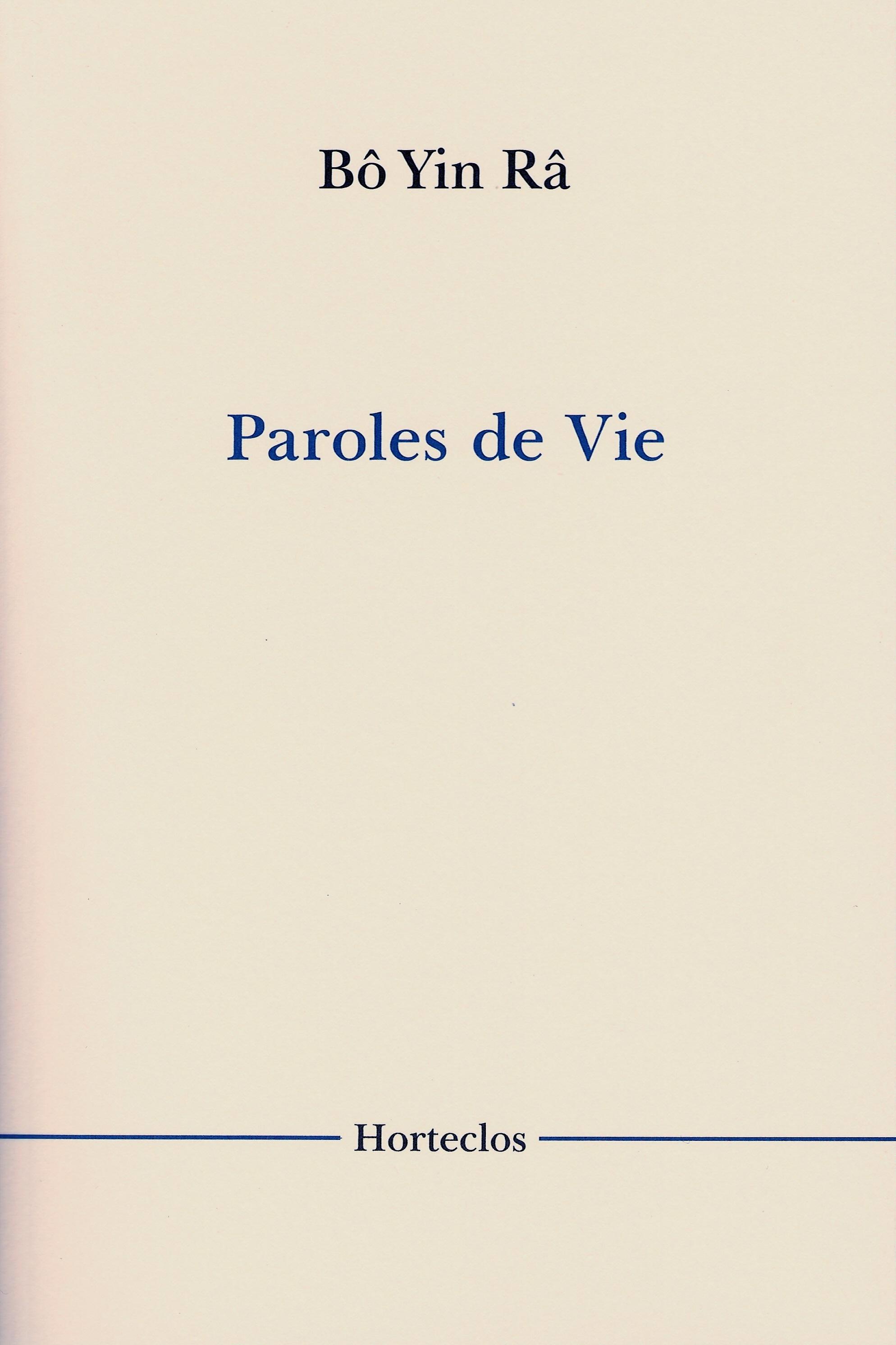 PAROLES DE VIE