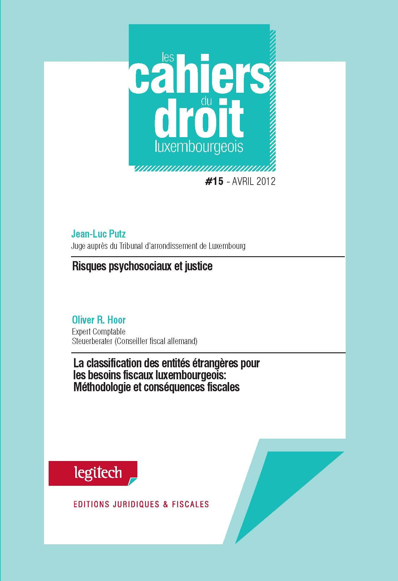 CAHIER DU DROIT LUXEMBOURGEOIS N 15
