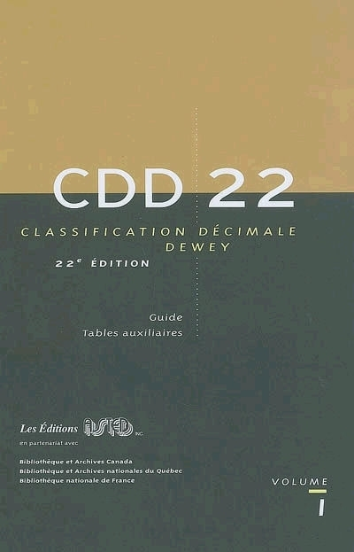 CLASSIFICATION DECIMALE DEWEY. 22EME EDITION INTEGRALE
