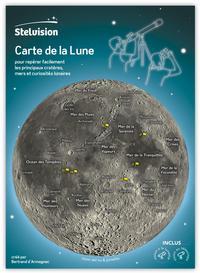 CARTE DE LA LUNE - POUR REPERER FACILEMENT LES PRINCIPAUX CRATERES, MERS ET CURIOSITES LUNAIRES