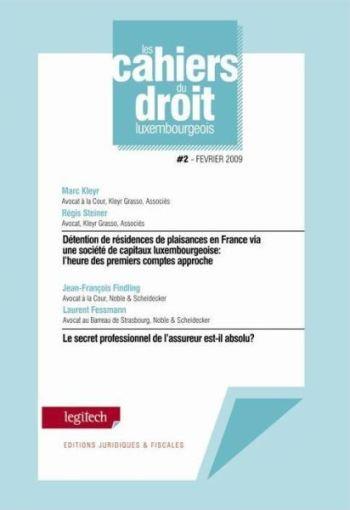 CAHIER DU DROIT LUXEMBOURGEOIS - N 2 - CONVENTIONS FISCALES / DROIT DES ASSURANCES