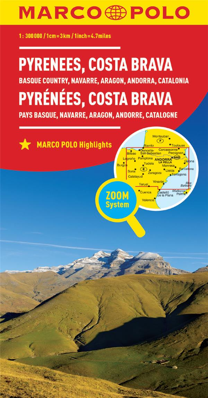 PYRENEES, COSTA BRAVA : PAYS BASQUE, NAVARRE, ARAGON, ANDORRE, CATALOGNE 1 : 300 000