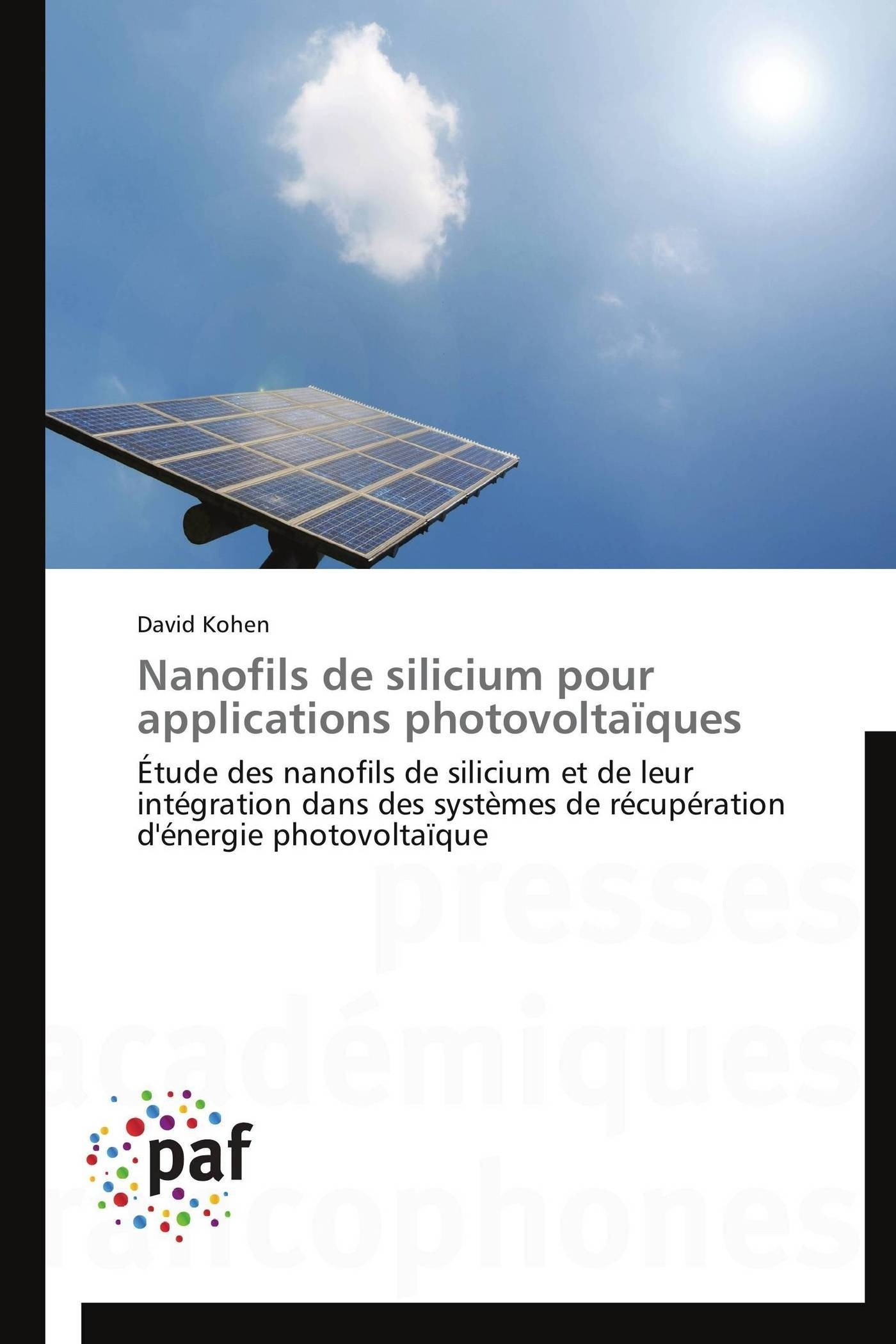 NANOFILS DE SILICIUM POUR APPLICATIONS PHOTOVOLTAIQUES