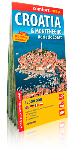 CROATIA/MONTENEGRO/ADRIATIC COAST 1/300.000 (COMFORT !MAP, LAMINEE)