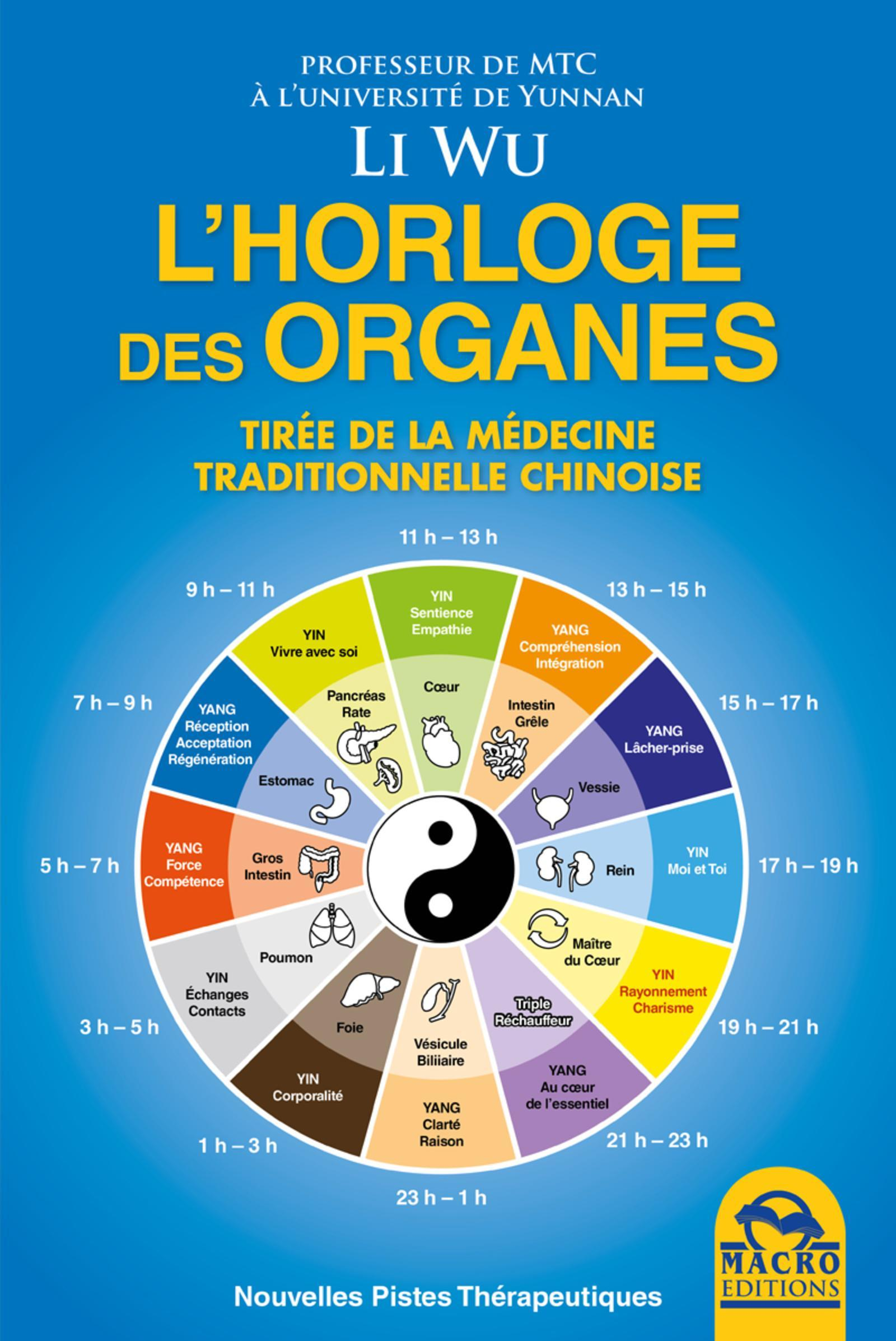 L HORLOGE DES ORGANES  TIREE DE LA MEDICINE TRADITIONNELLE CHINOISE