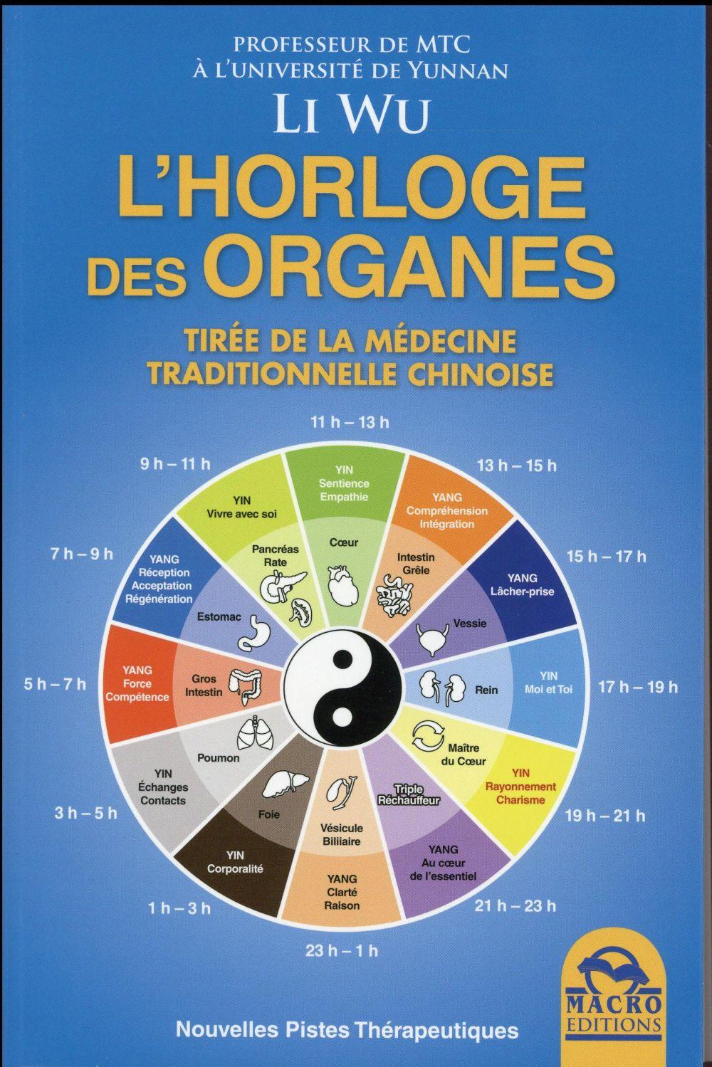 L HORLOGE DES ORGANES  TIREE DE LA MEDICINE TRADITIONNELLE CHINOISE