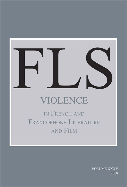 VIOLENCE IN FRENCH AND FRANCOPHONE LITERATURE AND FILM.