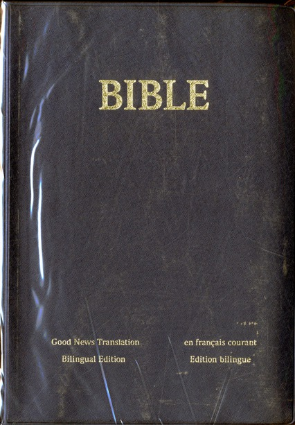 BIBLE ANGLAIS (GOOD NEWS) - FRANCAIS COURANT  VINYLE SOUPLE BLEU