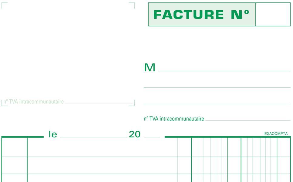MANIFOLD FACTURES AVEC MENTION TVA 21X14,8CM 50 FEUILLETS TRIPLI AUTOCOPIANTS