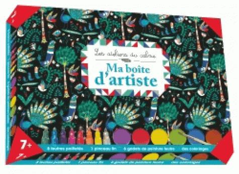 MA BOITE D'ARTISTE  - COFFRET AVEC ACCESSOIRES - 8 FEUTRES PAILLETES - 6 GODETS DE PEINTURE FEUTRE -