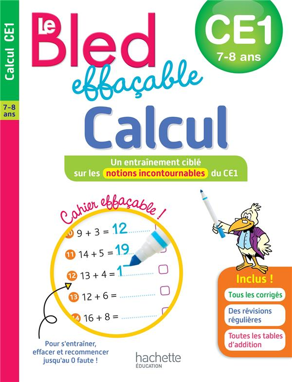BLED EFFACABLE CALCUL CE1