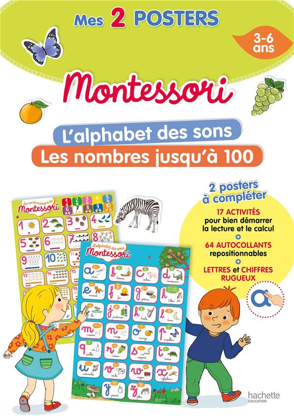 MON POSTER MONTESSORI - L'ALPHABET DES SONS + LES NOMBRES JUSQU'A 100