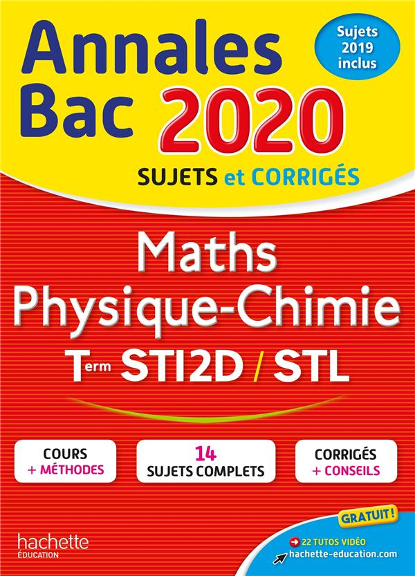 ANNALES BAC 2020 MATHS PHYSIQUE-CHIMIE TLES STI2D-STL