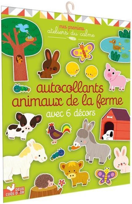 AUTOCOLLANTS  ANIMAUX DE LA FERME AVEC 6 DECORS