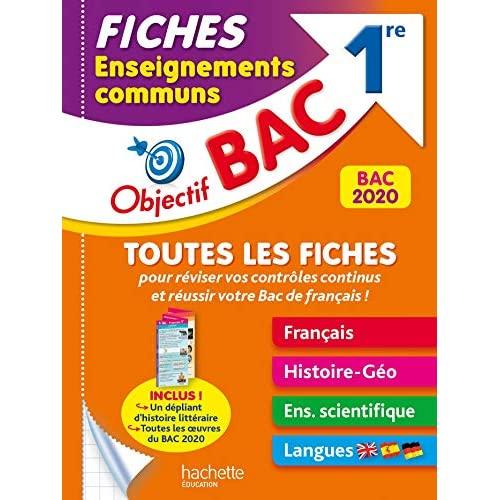 OBJECTIF BAC - FICHES ENSEIGNEMENTS COMMUNS 1RE BAC 2021