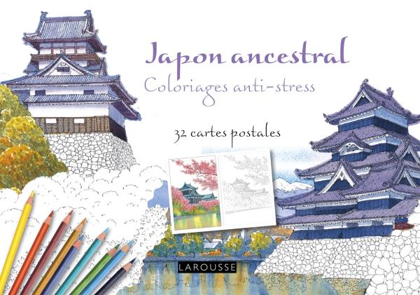 JAPON ANCESTRAL COLORIAGES ANTI-STRESS - 32 CARTES POSTALES