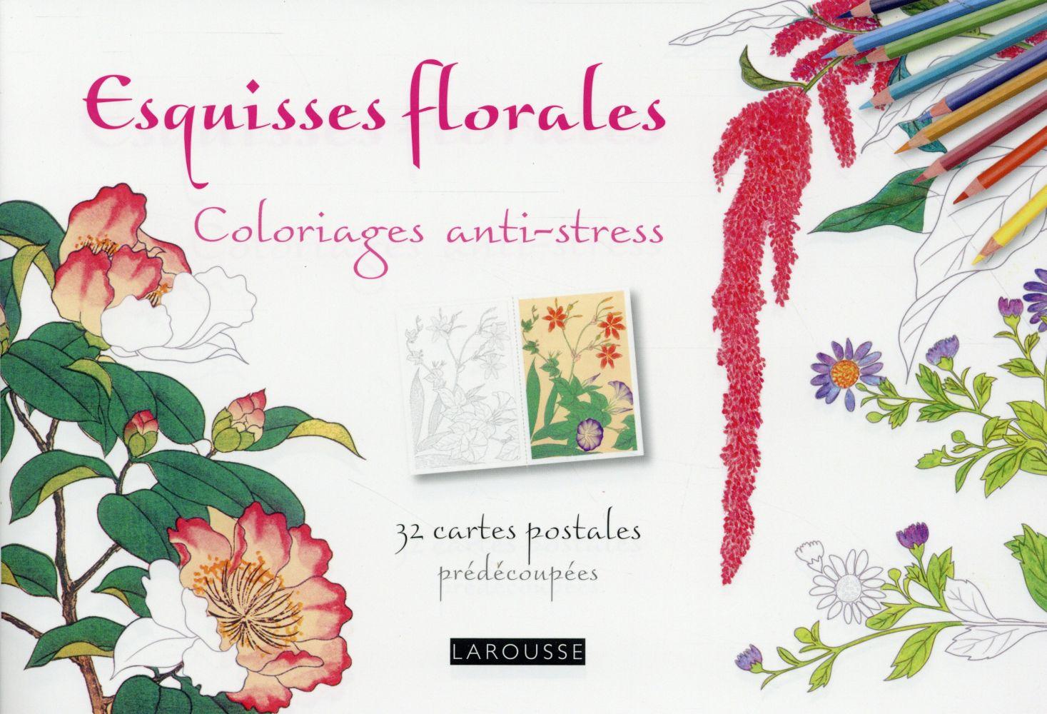ESQUISSES FLORALES COLORIAGES CARTES POSTALES