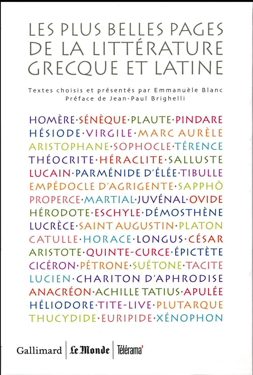 LES PLUS BELLES PAGES DE LA LITTERATURE GRECQUE ET LATINE (COFFRET 5V)