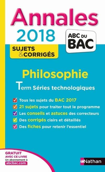 ANNALES BAC PHILO STMG - CORRIGES 2018
