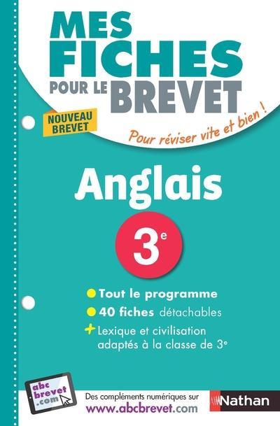 MES FICHES POUR LE BREVET ANGLAIS 3EME - NOUVELLE EDITION