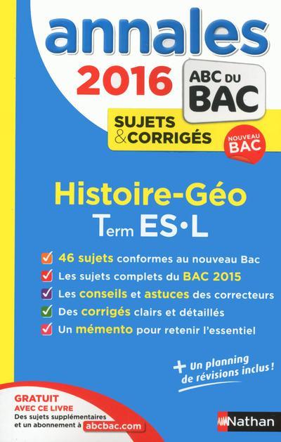ANNALES BAC 2016 HISTOIRE GEOGRAPHIE TERMINALE ES.L CORRIGES