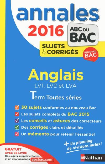 ANNALES BAC 2016 ANGLAIS TOUTES SERIES CORRIGES