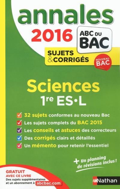 ANNALES BAC 2016 SCIENCES 1ERE ES-L CORRIGES