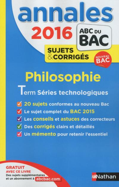 ANNALES BAC 2016 PHILO STMG STL SMS CORRIGES