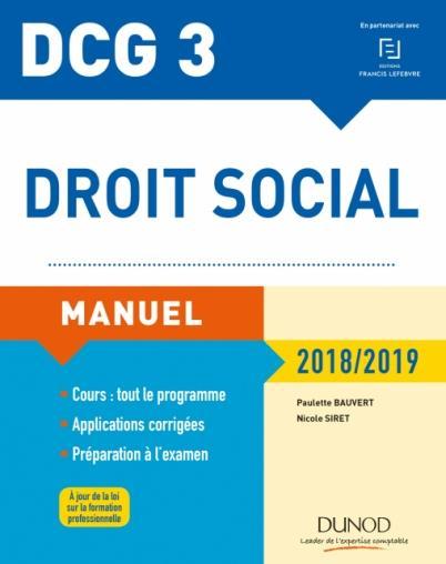 DCG 3 - DROIT SOCIAL MANUEL 2018/2019