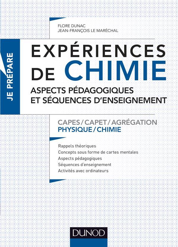 EXPERIENCES DE CHIMIE - ASPECTS PEDAGOGIQUES ET SEQUENCES D'ENSEIGNEMENT - CAPES/AGREGATION - CAPES/