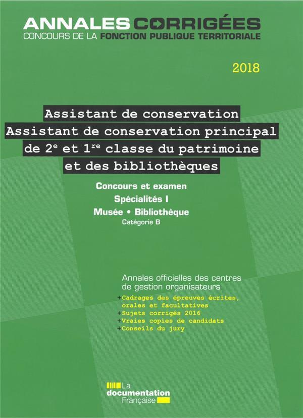 ASSISTANT, ASSISTANT DE CONSERVATION PRINCIPAL (2E ET 1RE CLASSE) DU PATRIMOINE - ET DES BIBLIOTHEQU