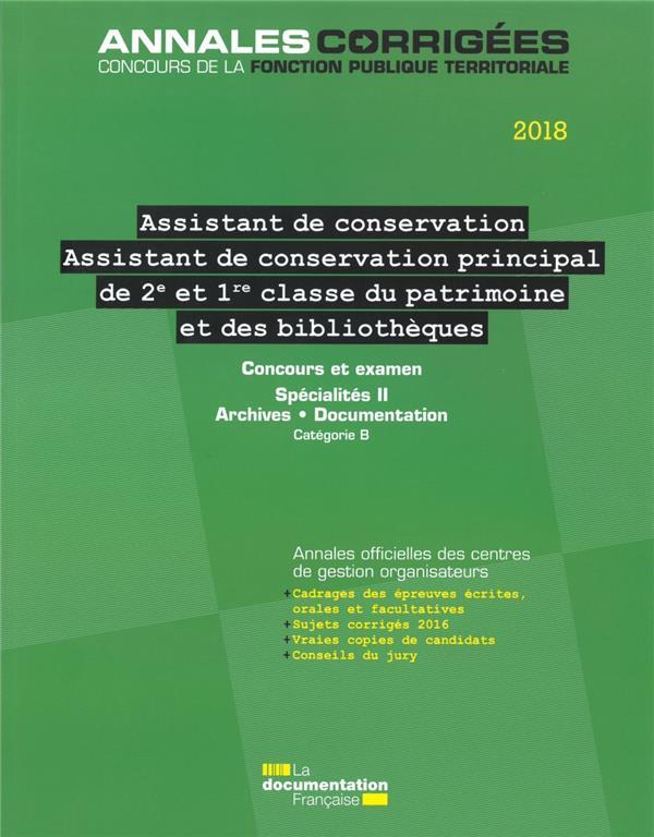 ASSISTANT, ASSISTANT DE CONSERVATION PRINCIPAL (2E ET 1RE CLASSE) DU PATRIMOINE - ET DES BILBIOTHEQU