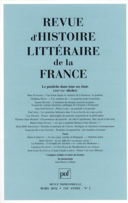 IAD - REVUE D'HISTOIRE LITTERAIRE DE LA FRANCE 2012 N0 1