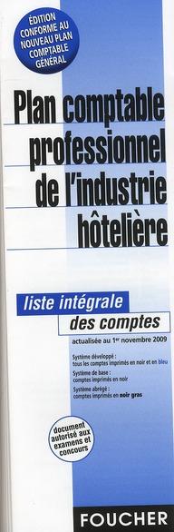 PLAN COMPTABLE PROFESSIONNEL DE L'INDUSTRIE HOTELIERE