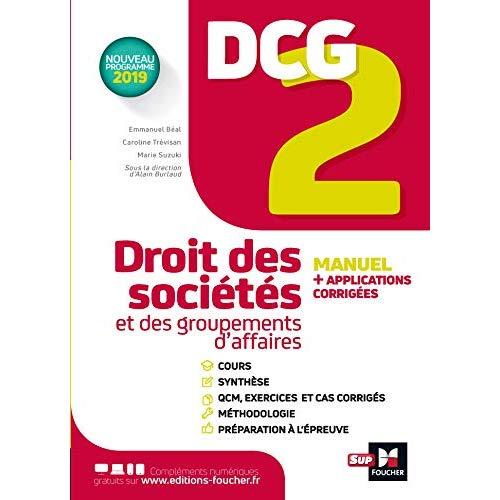 DCG 2 - DROIT DES SOCIETES ET DES GROUPEMENTS D'AFFAIRES - MANUEL ET APPLICATIONS