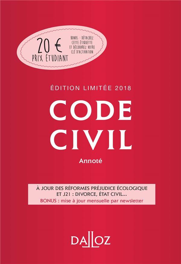 CODE CIVIL 2018 ANNOTE. EDITION LIMITEE - 117E ED.