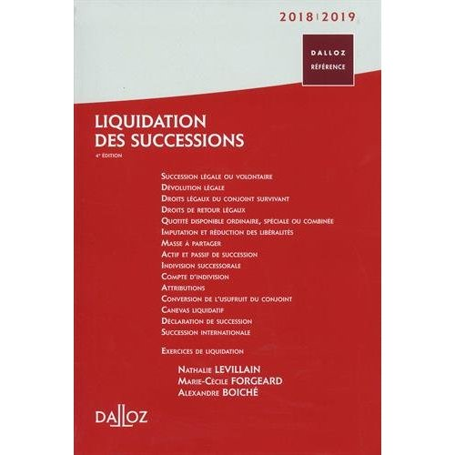 LIQUIDATION DES SUCCESSIONS 2018/19 - 4E ED.