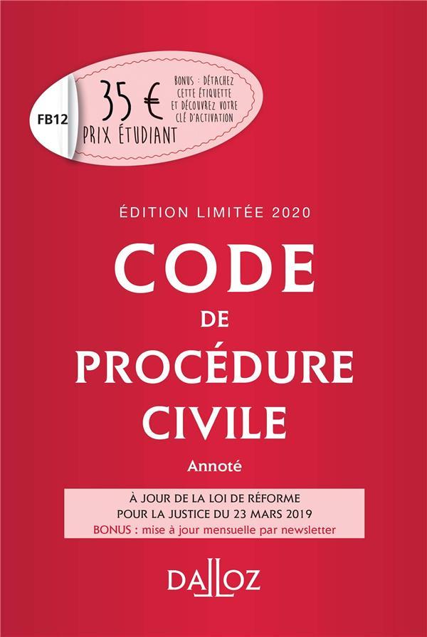 CODE DE PROCEDURE CIVILE 2020 ANNOTE. EDITION LIMITEE - 111E ED.