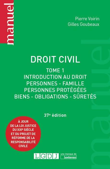 DROIT CIVIL - TOME 1 37EME EDITION